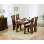 Normandy 120cm Dark Solid Oak Extending Dining Table with Montreal Chairs
