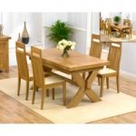 Bordeaux 200cm Solid Oak Extending Dining Table with Monaco Chairs