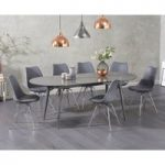 Olivia Extending Grey High Gloss Dining Table with Celine Chairs