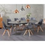 Olivia Extending Grey High Gloss Dining Table with Oscar Faux Leather Round Leg Chairs