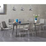 Olivia Extending Grey High Gloss Dining Table with Helsinki Fabric Chairs