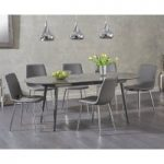 Olivia Extending Grey High Gloss Dining Table with Helsinki Faux Leather Chairs