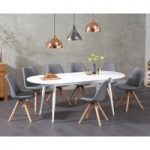 Olivia Extending White High Gloss Dining Table with Oscar Fabric Round Leg Chairs