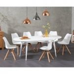 Olivia Extending White High Gloss Dining Table with Oscar Faux Leather Round Leg Chairs