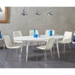 Olivia Extending White High Gloss Dining Table with Helsinki Faux Leather Chairs