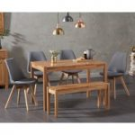 Oxford 120cm Solid Oak Dining Table with Duke Fabric Chairs and Oxford Bench