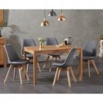 Oxford 120cm Solid Oak Dining Table with Duke Fabric Chairs