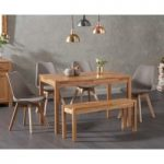 Oxford 120cm Solid Oak Dining Table with Duke Faux Leather Chairs and Oxford Bench