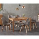 Oxford 120cm Solid Oak Dining Table with Duke Faux Leather Chairs