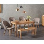 Oxford 120cm Solid Oak Dining Table with Halifax Fabric Chairs and Oxford Bench