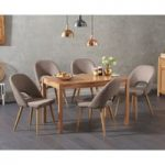 Oxford 120cm Solid Oak Dining Table with Halifax Fabric Chairs