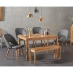 Oxford 120cm Solid Oak Dining Table with Halifax Faux Leather Chairs with Oxford Bench
