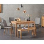 Oxford 120cm Solid Oak Dining Table with Helsinki Fabric Chairs with Oxford Bench