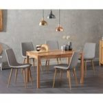Oxford 120cm Solid Oak Dining Table with Helsinki Fabric Chairs