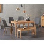 Oxford 120cm Solid Oak Table with Helsinki Faux Leather chairs and Oxford Bench