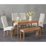 Oxford 120cm Solid Oak Dining Table with Juliette Fabric Chairs and Oxford Bench