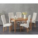 Oxford 120cm Solid Oak Dining Table with Juliette Fabric Chairs