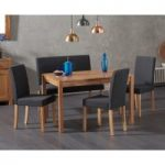 Oxford 120cm Solid Oak Dining Table with Mia Black Benches with Backs and Mia Chairs