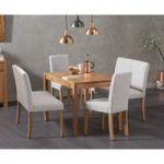 Oxford 150cm Solid Oak Dining Table with Mia Grey Benches with Backs and Mia Chairs