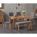 Oxford 120cm Solid Oak Dining Table with Mia Brown Benches and Mia Chairs