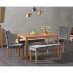 Oxford 150cm Solid Oak Dining Table with Mia Large Grey Plush Benches and Mia Chairs