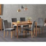 Oxford 120cm Solid Oak Dining Table with Mia Grey Plush Chairs