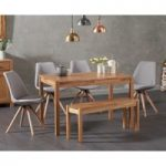 Oxford 120cm Solid Oak Dining Table with Oscar Fabric Round Leg Chairs and Oxford Bench