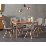 Oxford 120cm Solid Oak Dining Table with Oscar Fabric Round Leg Chairs