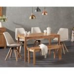 Oxford 150cm Solid Oak Dining Table with Oscar Fabric Square Leg Chairs and Oxford Bench