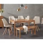 Oxford 120cm Solid Oak Dining Table with Oscar Fabric Square Leg Chairs and Oxford Bench