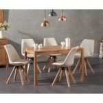 Oxford 120cm Solid Oak Dining Table with Oscar Fabric Square Leg Chairs