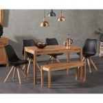 Oxford 120cm Solid Oak Dining Table with Oscar Faux Leather Round Leg Chairs and Oxford Bench