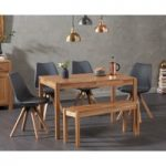 Oxford 120cm Solid Oak Dining Table with Oscar Square Leg Faux Leather Chairs and Oxford Bench