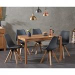 Oxford 120cm Solid Oak Dining Table with Oscar Square Leg Faux Leather Chairs