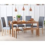 Oxford 150cm Solid Oak Dining Table with Benches and Albany Chairs