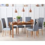 Oxford 150cm Solid Oak Dining Table with Grey Albany Chairs