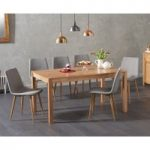 Oxford 150cm Solid Oak Dining Table with Helsinki Fabric Chairs