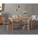 Ex-display Oxford 150cm Solid Oak Dining Table with FOUR WHITE Duke Faux Leather Chairs
