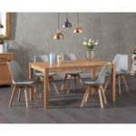 Oxford 150cm Solid Oak Dining Table with Duke Faux Leather Chairs
