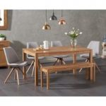 Oxford 150cm Solid Oak Dining Table with Oscar Fabric Round Leg Chairs and Oxford Bench