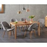 Oxford 150cm Solid Oak Dining Table with Halifax Fabric Chairs