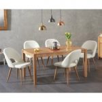 Oxford 150cm Solid Oak Dining Table with Halifax Faux Leather Chairs
