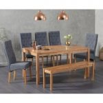 Oxford 150cm Solid Oak Dining Table with Juliette Fabric Chairs and Oxford Bench