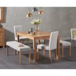 Oxford 150cm Solid Oak Dining Table Mia Large Grey Benches and Mia Chairs