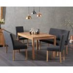 Oxford 150cm Solid Oak Dining Table with Mia Black Benches with Backs and Mia Chairs
