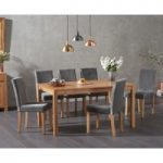 Oxford 150cm Solid Oak Dining Table with Mia Grey Plush Chairs