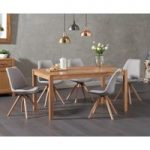 Oxford 150cm Solid Oak Dining Table with Oscar Fabric Round Leg Chairs