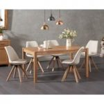 Oxford 150cm Solid Oak Dining Table with Oscar Fabric Square Leg Chairs