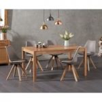 Oxford 150cm Solid Oak Dining Table with Oscar Faux Leather Square Leg Chairs