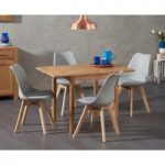 Oxford 70cm Solid Oak Extending Dining Table with Duke Faux Leather Chairs